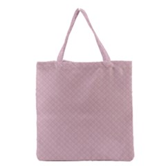 Baby Pink Stitched and Quilted Pattern Grocery Tote Bag