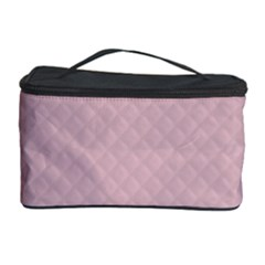 Baby Pink Stitched and Quilted Pattern Cosmetic Storage Case