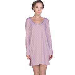 Baby Pink Stitched and Quilted Pattern Long Sleeve Nightdress