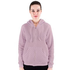 Baby Pink Stitched and Quilted Pattern Women s Zipper Hoodie