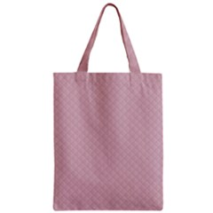 Baby Pink Stitched and Quilted Pattern Zipper Classic Tote Bag