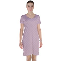 Baby Pink Stitched and Quilted Pattern Short Sleeve Nightdress