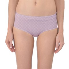 Baby Pink Stitched and Quilted Pattern Mid-Waist Bikini Bottoms