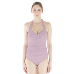 Baby Pink Stitched and Quilted Pattern Halter Swimsuit