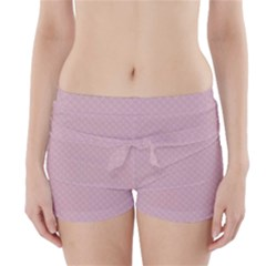 Baby Pink Stitched and Quilted Pattern Boyleg Bikini Wrap Bottoms