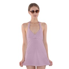 Baby Pink Stitched and Quilted Pattern Halter Swimsuit Dress