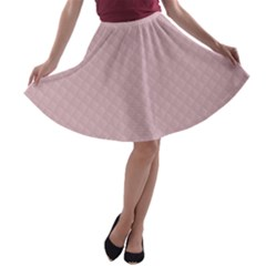 Baby Pink Stitched and Quilted Pattern A-line Skater Skirt