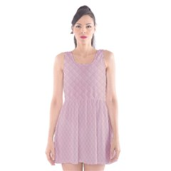 Baby Pink Stitched and Quilted Pattern Scoop Neck Skater Dress