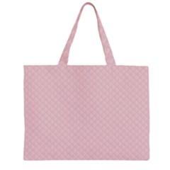 Baby Pink Stitched and Quilted Pattern Large Tote Bag