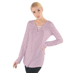 Baby Pink Stitched and Quilted Pattern Women s Tie Up Tee