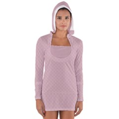 Baby Pink Stitched and Quilted Pattern Women s Long Sleeve Hooded T-shirt