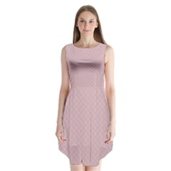 Baby Pink Stitched and Quilted Pattern Sleeveless Chiffon Dress