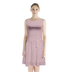 Baby Pink Stitched and Quilted Pattern Sleeveless Waist Tie Chiffon Dress