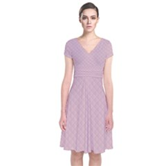 Baby Pink Stitched and Quilted Pattern Short Sleeve Front Wrap Dress