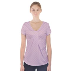 Baby Pink Stitched and Quilted Pattern Short Sleeve Front Detail Top