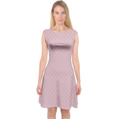 Baby Pink Stitched and Quilted Pattern Capsleeve Midi Dress