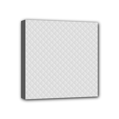 Bright White Stitched and Quilted Pattern Mini Canvas 4  x 4