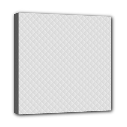 Bright White Stitched and Quilted Pattern Mini Canvas 8  x 8