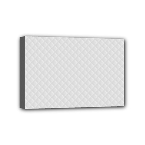 Bright White Stitched and Quilted Pattern Mini Canvas 6  x 4