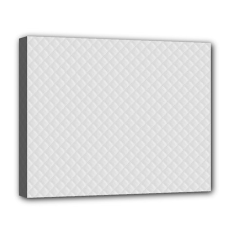 Bright White Stitched and Quilted Pattern Deluxe Canvas 20  x 16