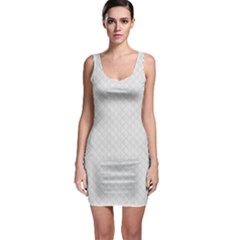 Bright White Stitched and Quilted Pattern Sleeveless Bodycon Dress