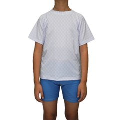 Bright White Stitched and Quilted Pattern Kids  Short Sleeve Swimwear