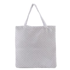 Bright White Stitched and Quilted Pattern Grocery Tote Bag