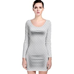 Bright White Stitched and Quilted Pattern Long Sleeve Bodycon Dress
