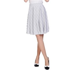 Bright White Stitched and Quilted Pattern A-Line Skirt