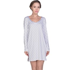 Bright White Stitched And Quilted Pattern Long Sleeve Nightdress