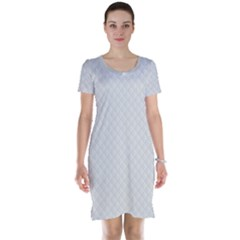 Bright White Stitched and Quilted Pattern Short Sleeve Nightdress