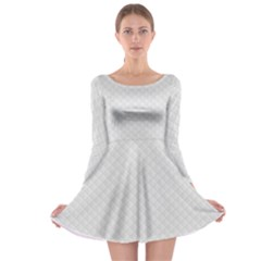 Bright White Stitched and Quilted Pattern Long Sleeve Skater Dress