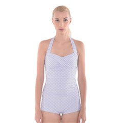 Bright White Stitched and Quilted Pattern Boyleg Halter Swimsuit