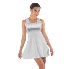 Bright White Stitched and Quilted Pattern Cotton Racerback Dress