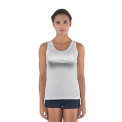 Bright White Stitched and Quilted Pattern Women s Sport Tank Top