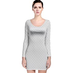 Bright White Stitched and Quilted Pattern Long Sleeve Velvet Bodycon Dress