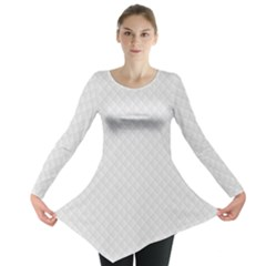 Bright White Stitched and Quilted Pattern Long Sleeve Tunic