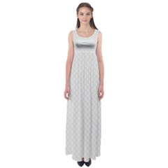 Bright White Stitched and Quilted Pattern Empire Waist Maxi Dress