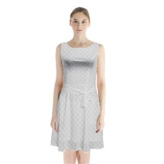 Bright White Stitched and Quilted Pattern Sleeveless Waist Tie Chiffon Dress