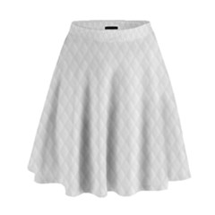 Bright White Stitched and Quilted Pattern High Waist Skirt