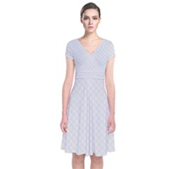 Bright White Stitched and Quilted Pattern Short Sleeve Front Wrap Dress