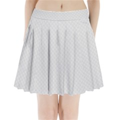 Bright White Stitched and Quilted Pattern Pleated Mini Skirt