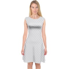 Bright White Stitched and Quilted Pattern Capsleeve Midi Dress