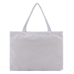 Bright White Stitched and Quilted Pattern Medium Tote Bag
