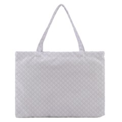 Bright White Stitched and Quilted Pattern Medium Zipper Tote Bag