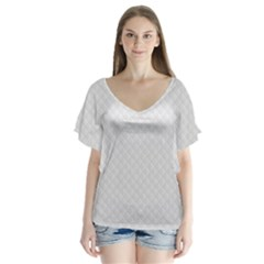 Bright White Stitched and Quilted Pattern Flutter Sleeve Top