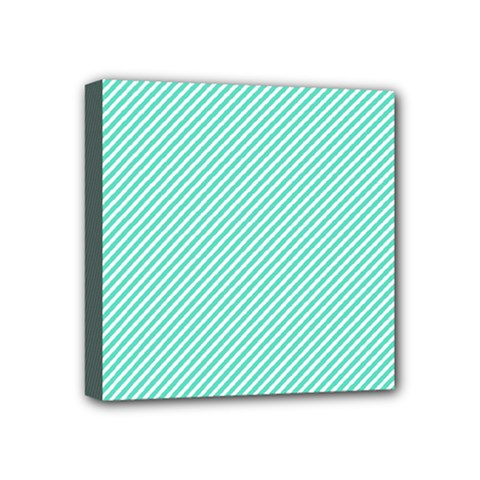 Tiffany Aqua Blue Diagonal Sailor Stripes Mini Canvas 4  x 4
