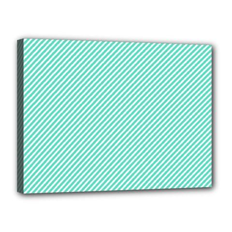 Tiffany Aqua Blue Diagonal Sailor Stripes Canvas 16  x 12