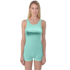 Tiffany Aqua Blue Diagonal Sailor Stripes One Piece Boyleg Swimsuit