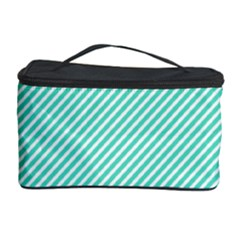 Tiffany Aqua Blue Diagonal Sailor Stripes Cosmetic Storage Case
